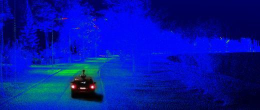ladar equipped car driving in dark surroundings
