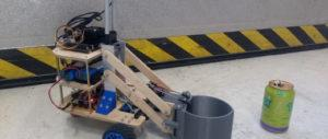 robot at area marked with notification ribbon